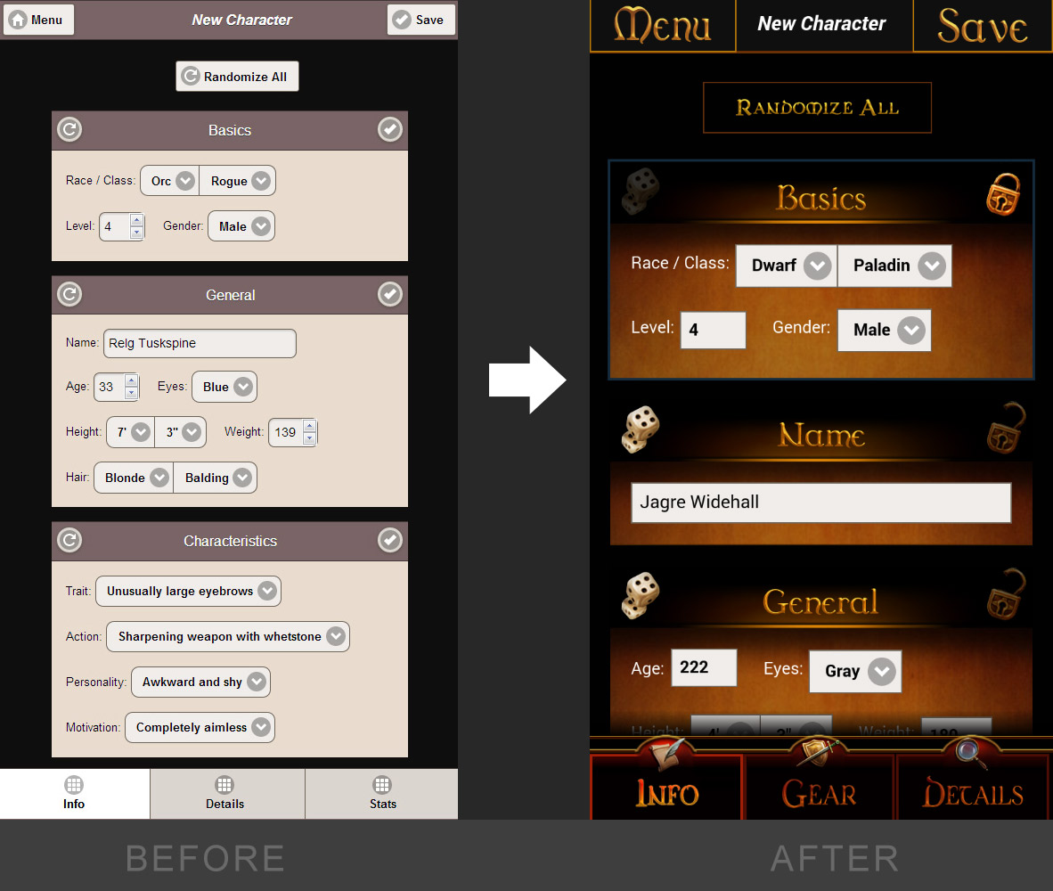 D&D NPC Creator App UI - Before and After Design