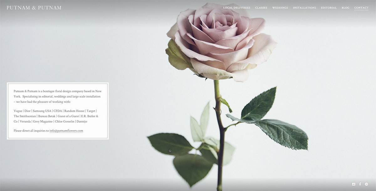 WordPress Putnam Flowers - About Page